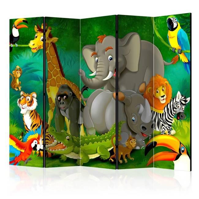 Parawan 5-częściowy - Kolorowe safari II [Room Dividers]