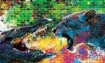 Fototapeta Aligator i Tygrys na kolorowych cegłach 3644