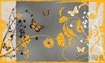 Fototapeta Pomarańczowe motyle i kwiaty 886