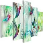Obraz - Kolorowe kolibry (5-częściowy) szeroki zielony
